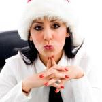 Christmas woman making kiss gesture — Stock Photo