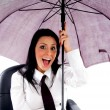 Young woman holding umbrella — Stock Photo
