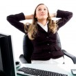 Female executive relaxing in office — Stock Photo #1351096