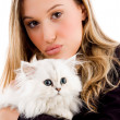 Royalty-Free Stock Photo: Beautiful woman holding white kitten