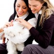 Young sisters playing with cat — Stock Photo #1351144