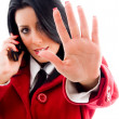 American woman interacting on cell phone — Stock Photo #1351250