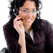 Female assiatant at work desk — Stock Photo