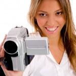 Smiling woman recording through camera — Stock Photo #1352176