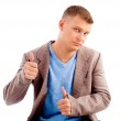 Handsome male showing thumbs up — Stock Photo #1352402