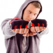 Portrait of guy showing fists — Stock Photo
