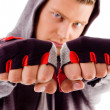Portrait of guy showing fists — Stock Photo #1352453