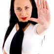 Attractive woman making stop gesture — Stock Photo