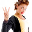 Pretty woman counting three — Stock Photo