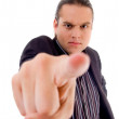 Man pointing towards camera in anger — Stock Photo