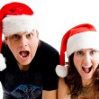 Happy christmas couple shouting — Stock Photo