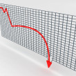 Three dimensional decreasing graph — Stock Photo