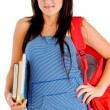 Smiling college girl with study material — Stock Photo