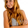 Charming young girl with folded hands — Stock Photo