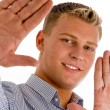 Happy male showing his palms — Stock Photo