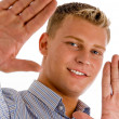 Happy male showing his palms — Stock Photo #1353637