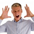 Caucasian young man shouting — Stock Photo