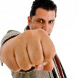 Caucasian man showing punch — Stock Photo