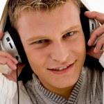 Close up of cool guy enjoying music — Stock Photo #1354077