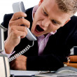 Stock Photo: Young ceo shouting on phone