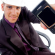 Male architect showing his cell phone — Stock Photo