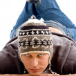 Close up of young man in winter cap — Stock Photo