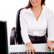 Woman working on computer — Stock Photo #1356280