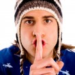 Guy making silence gesture — Stock Photo #1356872