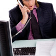 Professional guy talking on phone — Stock Photo