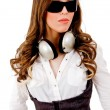 Young beautiful model with headphones — Stock Photo