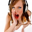 Shouting female enjoying music — Stock Photo