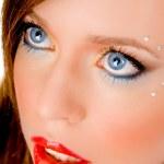 Beautiful woman applying lipstick — Stock Photo #1357919