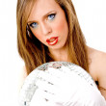 Woman holding disco ball — Stock Photo #1357922