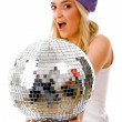 Female showing disco mirror ball — Stock Photo #1358122