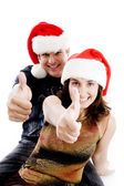Christmas coupe with thumbs up — Stock Photo