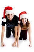 Christmas couple looking at camera — Stock Photo