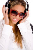 Female tuned in music — Stock Photo