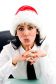 Christmas woman making kiss gesture — Стоковое фото