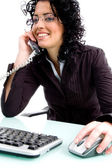 Young female attending call — Stock Photo