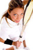 Top view of young tennis player — Stock Photo