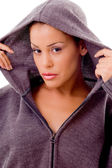 Fashionable woman with hood jacket — Stock Photo