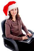 Cheerful woman working on laptop — Stock Photo