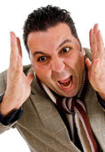 American male screaming with anger — Stock Photo