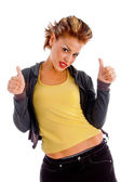 Attractive woman with thumbs up — Stock Photo