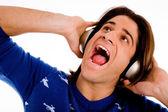 Man ejoying music — Stock Photo