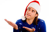 Christmas boy looking upwards — Stock Photo