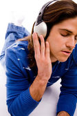 Man tuned in music — Stock Photo