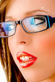 Close view of model with eye wear — Stock Photo