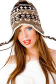 Woman wearing woolen cap — Stock Photo