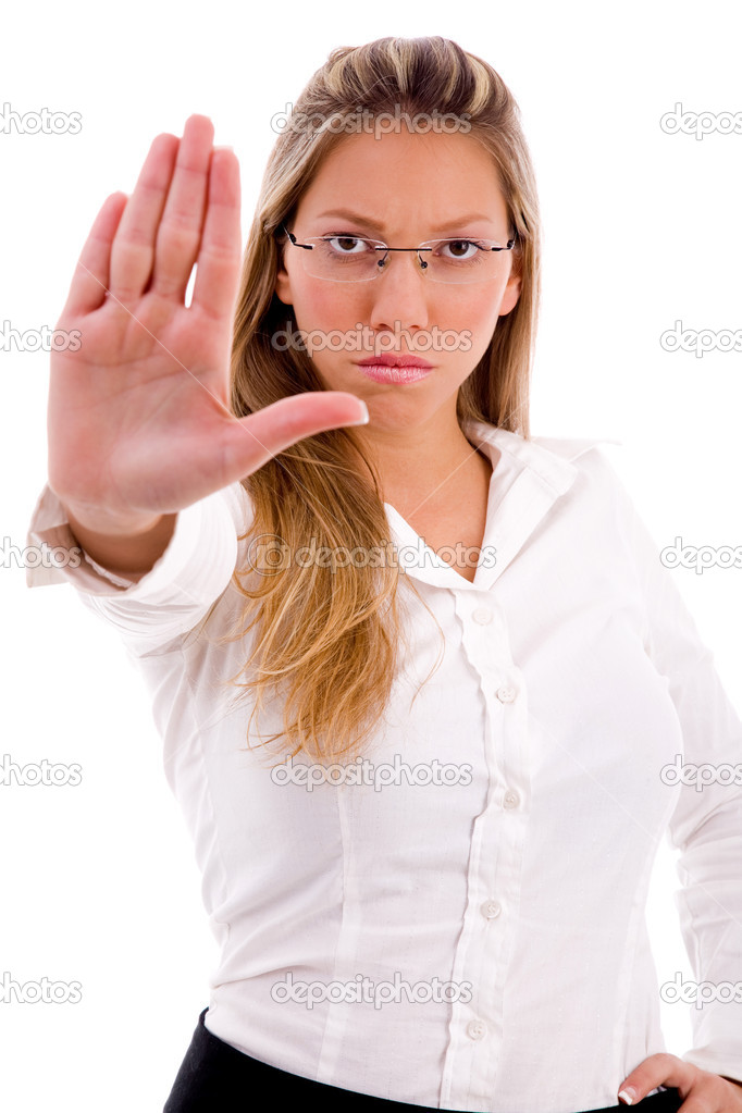 Front view of manager showing stopping gesture on an isolated white background — Stock Photo #1350087